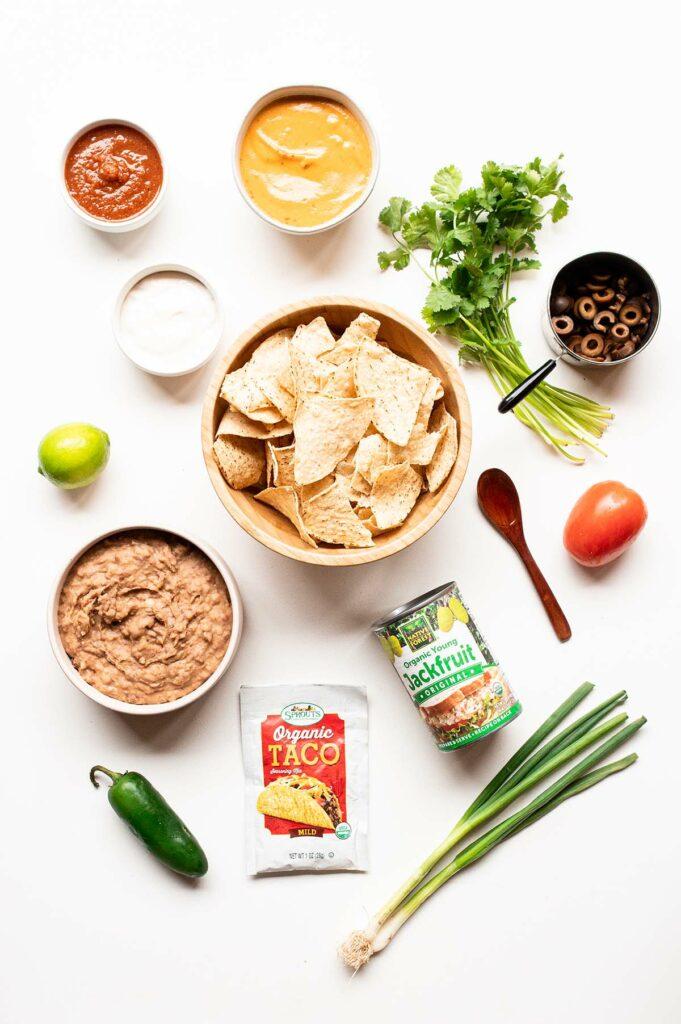 ingredients spread to make vegan sheet pan nachos