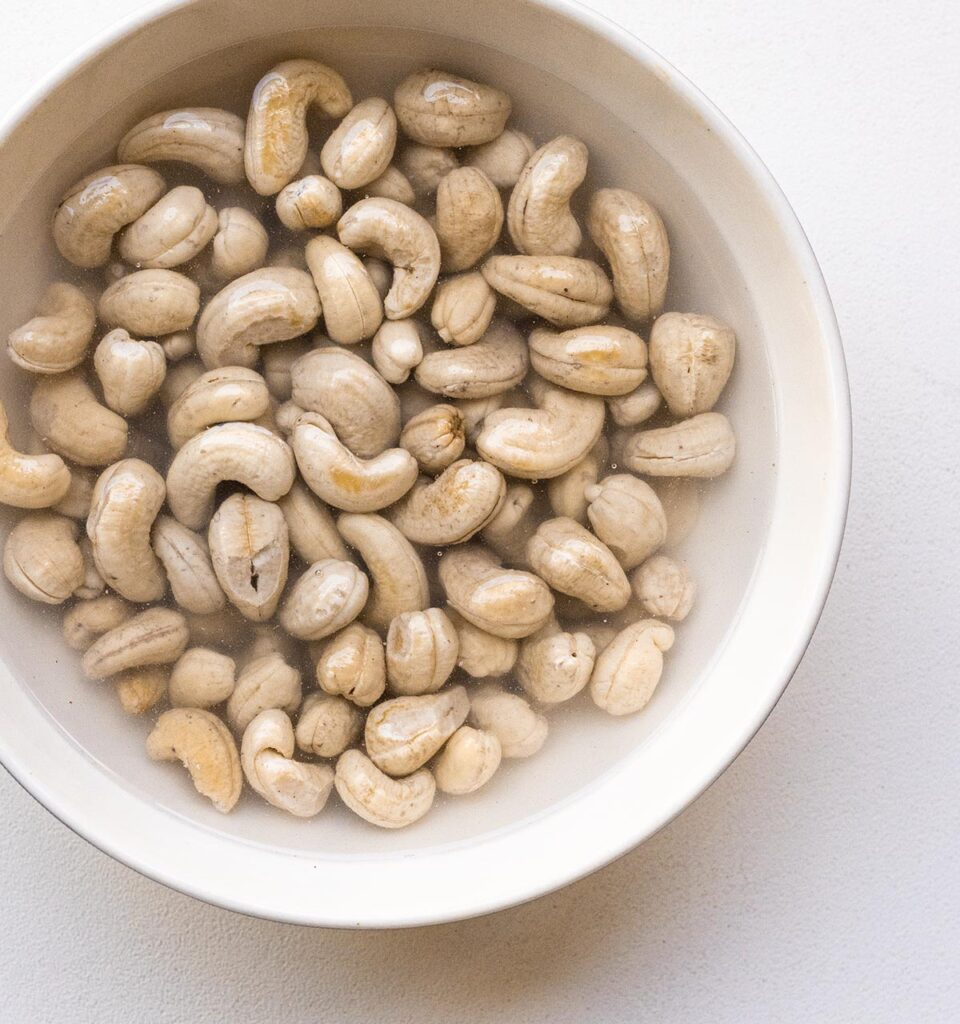 cashews in a bowl of water