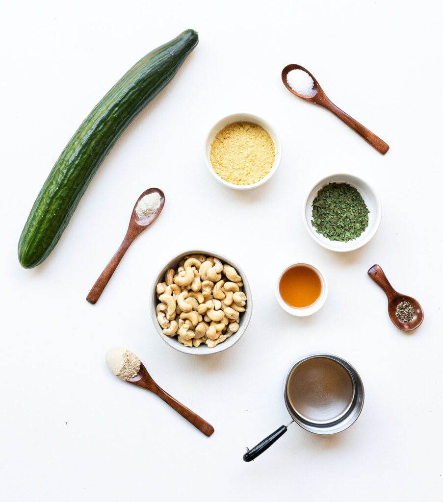ingredient spread to make cucumber cashew ranch dressing