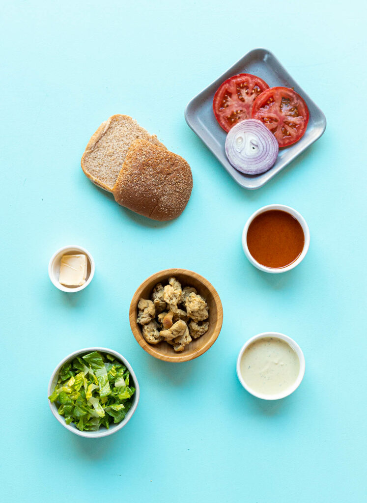 ingredient spread for vegan buffalo chicken sandwiches